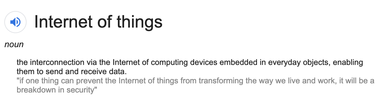 google definition of Iot